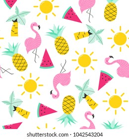 Summer seamless pattern with cute objects. Vector hand drawn illustration.