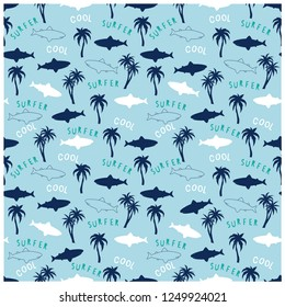 Summer seamless pattern design.Palm tree, shark vector print.Fun t-shirt design for kids.Vector illustration design for fashion fabrics, textile graphics, print.
