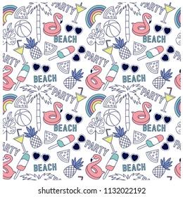 Summer seamless pattern design.Palm tree,sunglasses, flamingo,pineapple,ice cream,watermelon vector print.