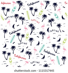 Summer seamless pattern design.Palm tree,surfboard, flamingo vector print.