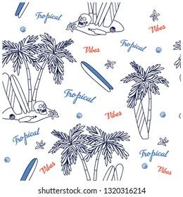Summer seamless pattern design.Palm tree,surfboard, skull vector print. Tropical vibes.