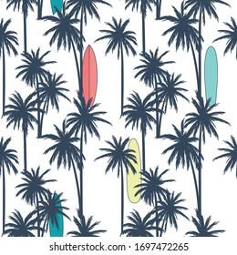 Summer seamless pattern design.Palm tree,surfboard vector print.