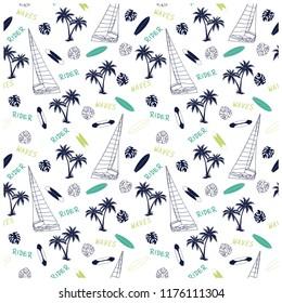 Summer seamless pattern design.Sailboat,palm tree,surfboard, vector print.