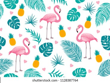 Summer seamless pattern of flamingo and tropical leaves vector illustration