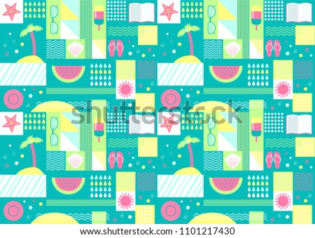222ea9a9efbdf Summer seamless pattern with geometric and summer day elements clip art set  on the background -