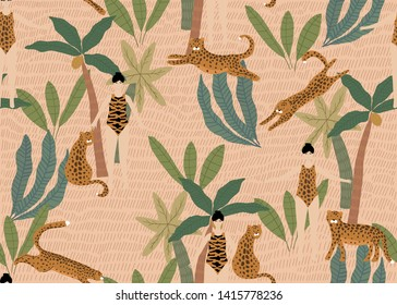Summer seamless pattern with ladies in swimsuits, tropical palm trees and leopards. Vector illustration