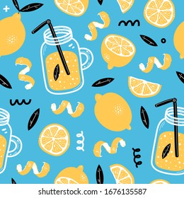 Summer seamless pattern with lemon, lemon slice, jar with lemonade, leaves. Fruit repeated background. Memphis style. Vector bright print for fabric or wallpaper.