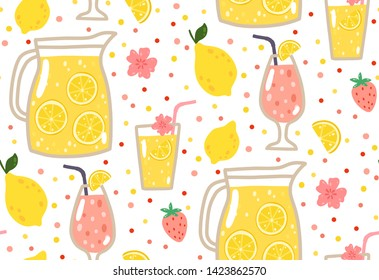 Summer seamless pattern with lemonade, lemons, strawberries, flowers, and cocktails. Can be used wrapping paper, fabric, wallpaper, background design.