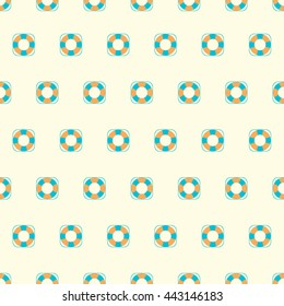 Summer seamless pattern with lifebuoy