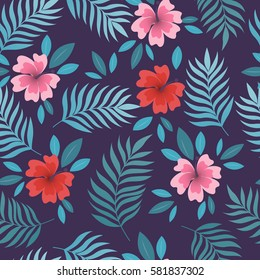 Summer seamless pattern with palm leaves and tropical flowers. Hawaiian motifs. Perfect for wallpapers, wrapping papers, textile, pattern fills, gift paper, summer greeting cards. Vector illustration