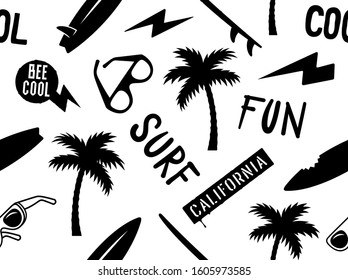 Summer seamless pattern with palm tree, surfboard, sunglasses and handmade inscriptions. Surfing vector print. Hand drawn vector illustration on the theme of surfing and summer vacation