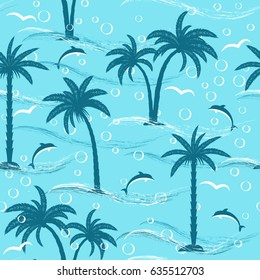 summer seamless pattern with  palm trees, dolphin and sea, vector illustration