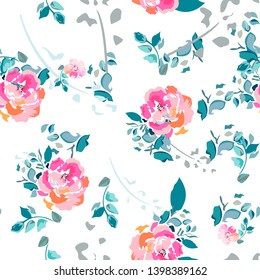 Summer seamless pattern with peonies. Spring tender and delicate texture with flowers and roses. Vintage slavic ornament with pastel light flowers in pink and orange colours.