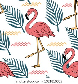 Summer seamless pattern with pink flamingo bird tropical leaves for embroidery on clothes textile print t shirt poster sweatshirt. Holiday summer chill time. Retro vintage illustration graphic design.