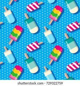 summer seamless pattern, popsicle seamless pattern