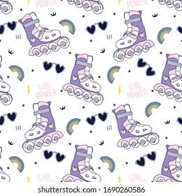 Summer seamless pattern. Roller skates, rainbow,sunglasses drawing.Skate symbols vector illustration.Cute graphic design for kids.Girl power.