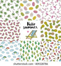 summer seamless pattern set