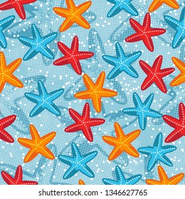 Summer seamless pattern with starfish on blue background, vector illustration