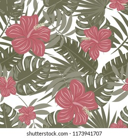 Summer seamless pattern with tropical flowers and leaves.