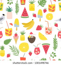 Summer seamless pattern with tropical leaves, exotic cocktails, ice cream, fruits and lemonade.