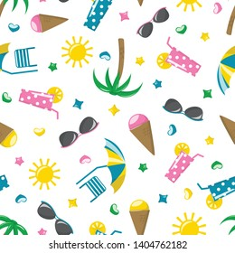 Summer seamless pattern. Vector with colored summer icons
