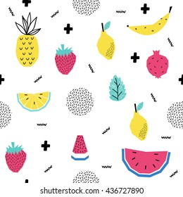 Summer seamless pattern with watermelon, strawberry and other fruits. Pop Art Style. Vector illustration.