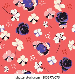 Summer Seamless Pattern wind blow flowers,  Isolated on pink color. Botanical Floral Decoration Texture. Vintage Style Design for Fabric Print, Wallpaper Background.