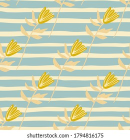 Summer seamless pattern with yellow flower shapes. Soft background with blue strips. Great for wrapping paper, textile, fabric print and wallpaper. Vector illustration.