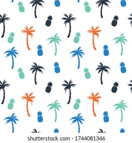 Summer seamless pattern.Palm tree,pineapple drawing.Surfing vector print.
