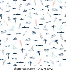 Summer seamless pattern.Palm tree,surfboard,sailboat,shark  drawing.Surfing vector print.