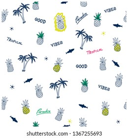 Summer seamless pattern.Pineapple,palm tree, shark drawing.Fun t-shirt design for kids.Vector illustration design for fashion fabrics, textile graphics, print.