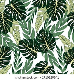 Summer seamless tropical pattern with bright plants and leaves on a light background.Tropical botanical. Jungle leaf seamless vector floral pattern background.