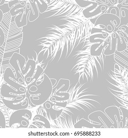 Summer seamless tropical pattern with monstera palm leaves and plants on gray background, vector illustration