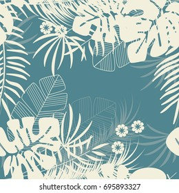 Summer seamless tropical pattern with monstera palm leaves and plants on blue background, vector illustration