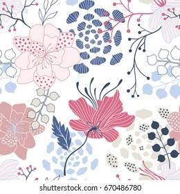 Summer seamless vector floral pattern