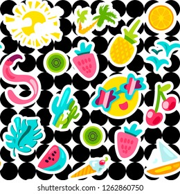 Summer seamless vector pattern. Fruits, sun, berries. Vacation background with hand drawn stickers