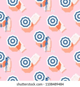 Summer seamless vector pattern. Vintage colors riviera beach top view. Sunbeds and umbrellas on light pink backdrop.