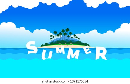 summer seascape banner design with tropical island and floating letters in ocean waves