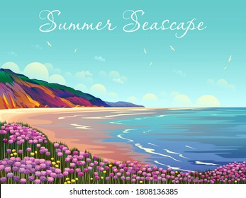 Summer seascape with beach, flowers, cliffs, clouds and sea. Handmade drawing vector illustration.