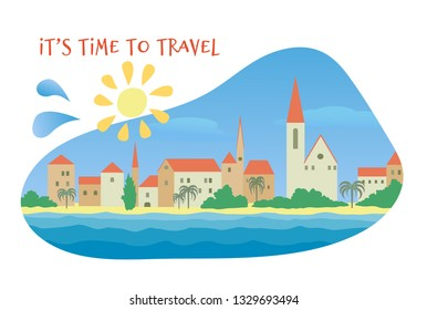 Summer seascape design in the blob shape with lettering on white background. An old European town with red roofs, palm trees, sunny beach  Vector colorful illustration in flat style