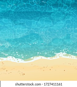 Summer seashore with sand, top view. The wave rolls onto the sand, sea foam, blue water. Cartoon vector illustration.