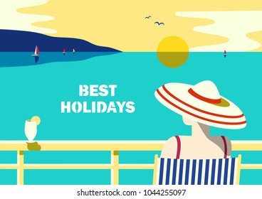 Summer seaside landscape. Blue ocean scenic view poster. Freehand drawn pop art retro style. Holiday vacation season sea travel leisure. Sea sailing relax. Vector tourist trip advertisement background