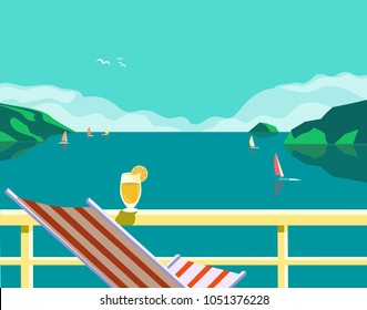Summer seaside landscape. Blue ocean scenic view poster. Colorful cartoon retro style. Holiday season vacation sea side nature. Travel leisure background. Tourist advertisement banner vector template