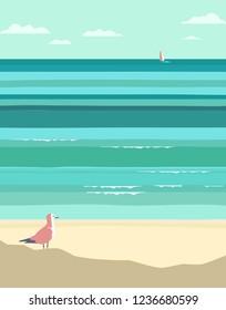 Summer seaside landscape. Vintage pop art style. Yacht sailing in ocean background. Maritime theme for design. Adventure journey, travel vacation vector advertisement template. Sea leisure activity