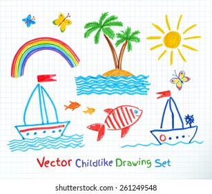Summer seaside set. Felt pen childlike drawing on checkered school notebook paper. Vector illustration.