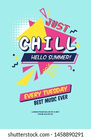 Summer season ad poster in pop-art style. Colorful text and shapes for your summer specials. Vector background template.
