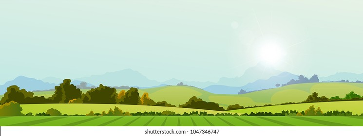 Summer Season Country Banner/ Illustration of a wide summer season country banner or header for web site