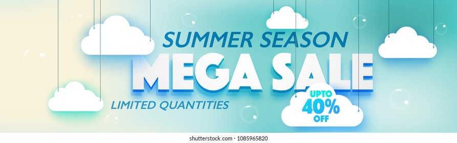 Summer Season, Mega Sale, Web Banner or Header Design with hanging clouds on skyblue background.