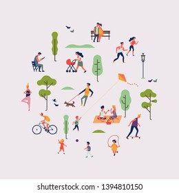 Summer season park or weekend in nature themed design round shaped vector element with people walking, riding and relaxing outdoors