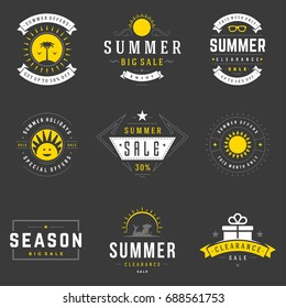 Summer season sale badges and tags design vector retro set for banners, collection objects and icons.